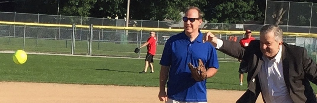KSM's Gary O'Neil and Mayor Rob Burton's opening pitch at Mayor's Invitational Softball Tournament fundraiser